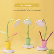 Portable LED Desk Lamp Pink/Green/Yellow Touch Switch Eye Protection Table Light 3 Modes Dimmable USB Rechargeable Desk Lights(China)