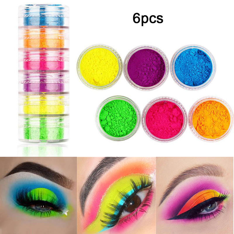 6 Pcs/set Neon Mineral Loose Powder Eyeshadow Makeup Palette Pigmented Matte Powder Colourful Eye Shadow Nail Powder