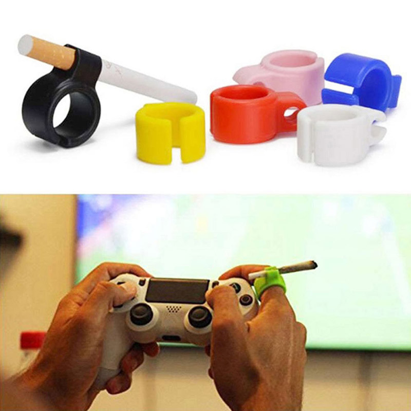 1Pcs Silicone Smoker Finger Ring Hand Rack Cigarette Holder Smoking Accessories For Game Player Driver Hand Free