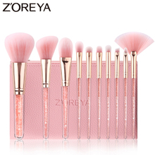 Zoreya 10pcs Pink Makeup Brush Set Brushes Soft Synthetic Hair Rose Gold Aluminum Ferrule Professional Beauty Tools