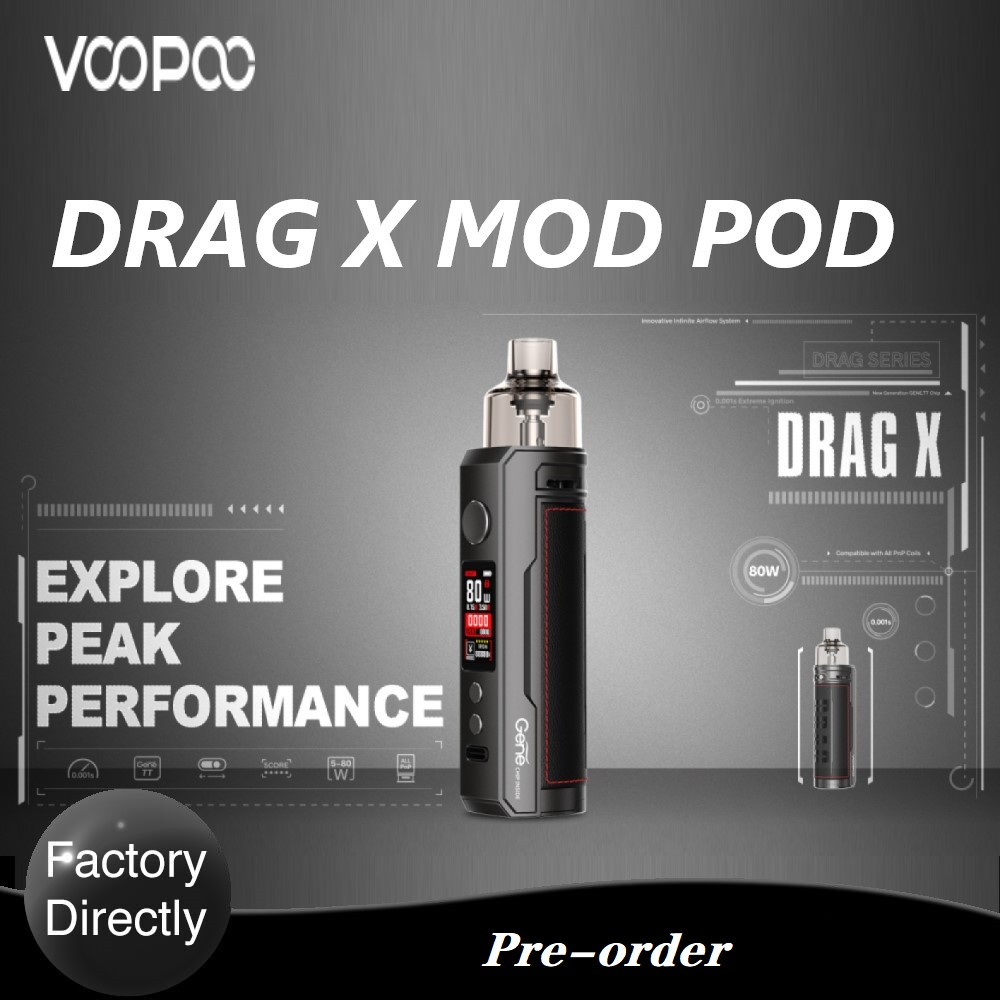 Original New VOOPOO Drag X Mod Pod Vape Kit With TFT Color Screen & GENE.TT Chip E-Cigarette Vaporizer Vs Vinci X / Aegis Boost