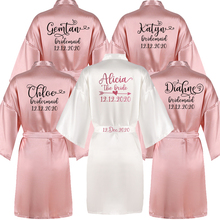 Sisbigdey Personalized writing Bride Robe women custom name wedding date Peignoir bridesmaid best gift bridal pink bridal robes