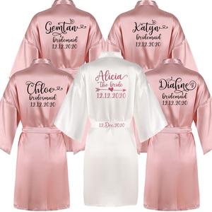 Image 1 - Sisbigdey Personalized writing Bride Robe women custom name wedding date Peignoir bridesmaid best gift bridal pink bridal robes