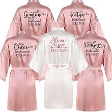 Sisbigdey Personalizzato di scrittura Sposa Veste delle donne su ordinazione nome data del matrimonio Vestaglia damigella donore migliore regalo da sposa rosa abiti da sposa