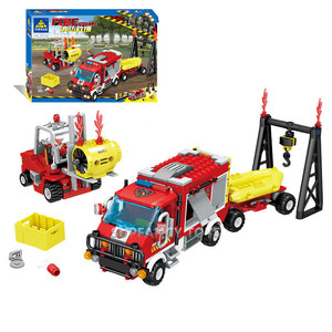 Image 4 - City Fire Rescue Vehicle Forest Ladder Fire Truck Car Building Blocks Creator Firefighter Figures Playmobil Brinquedos Kids Toys