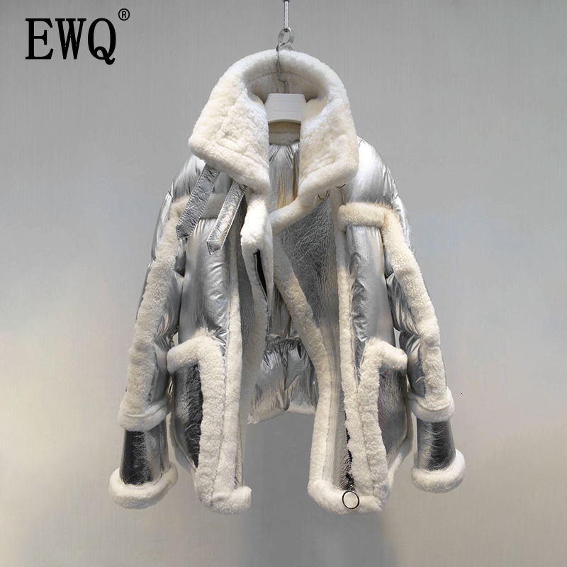 [EWQ] 2019 Winter High Quality Lapel Collar Long Sleeve Double -faced Fur Sheepskin Vintage Sheepskin Warm Coat AH31909