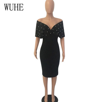 WUHE Plus Size 3XLFashion Slim Dresses for Women V Neck with Bead Classy Ladies Work Office Wear Bodycon Elegant Femme Clothes 6