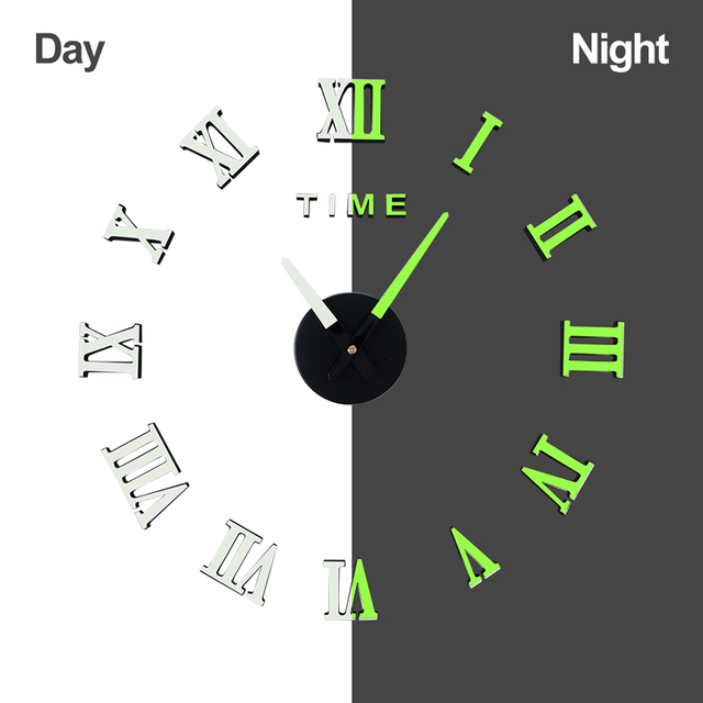 DICOR Frameless DIY Wall Clock, 3D Mirror Wall Clock Large Mute Wall Stickers for Living Room Bedroom Home Decorations Brand New 5