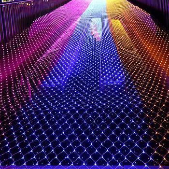3 м * 2 м светодиодный сетчатый светильник, открытый сетчатый Рождественский свет, водонепроницаемый Пейзаж, свадьба, праздник, Рождество, Ск...