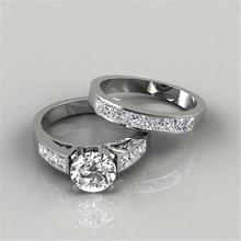 Modyle 2Pcs/set Charm Lovers Ring Bijoux Femme Fashion Jewelry Bijoux Crystal Engagement Wedding Rings For Women