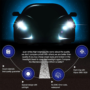 Image 4 - 4pcs Dual color White Yellow LED Angel Eyes Halo Ring Lighting Kit For BMW E46 3 Series Non HID Headlights 323i 325i 328i 330i