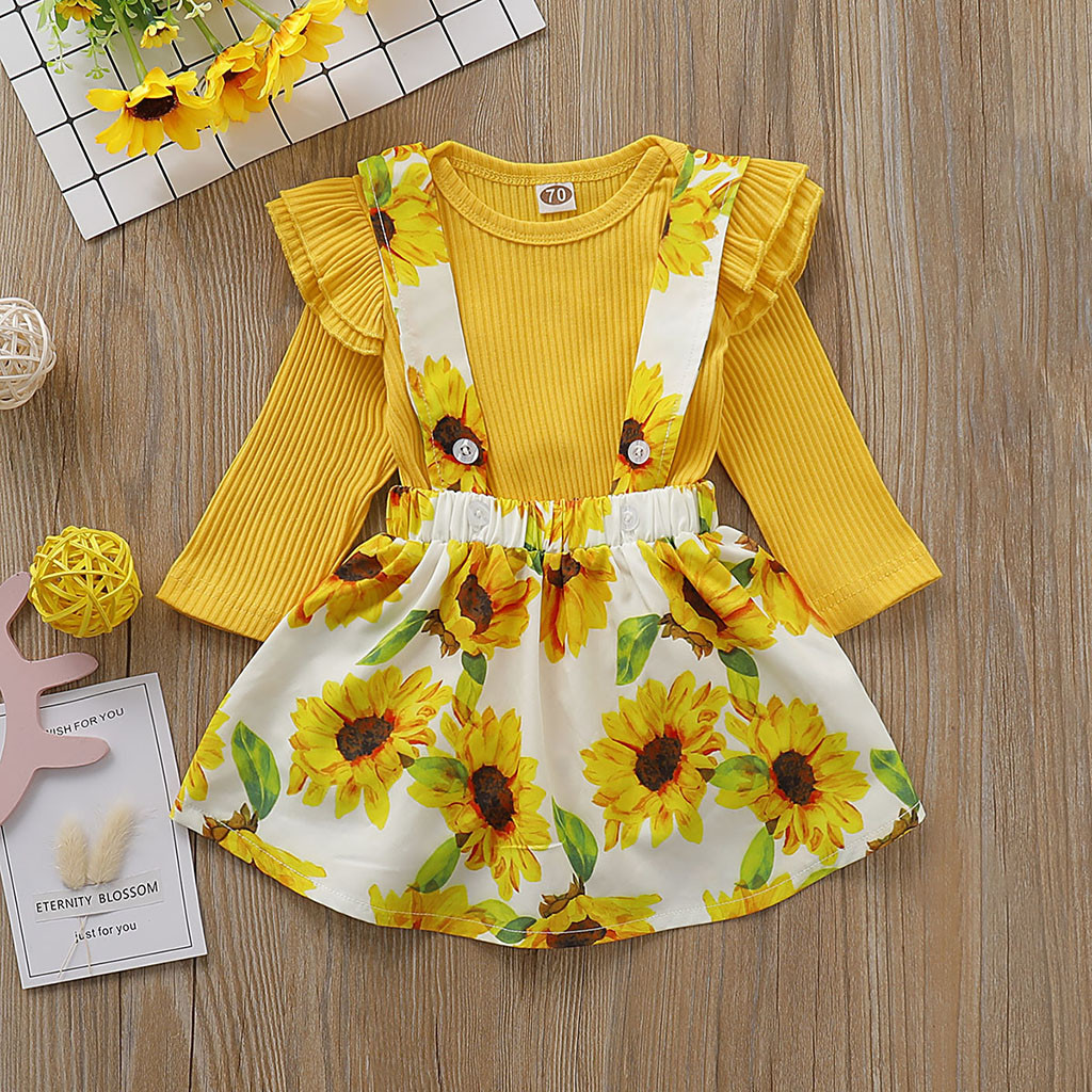 3PCS Baby Girls Green Floral Printing Skirts Long Sleeve Tops Hat Summer Suits