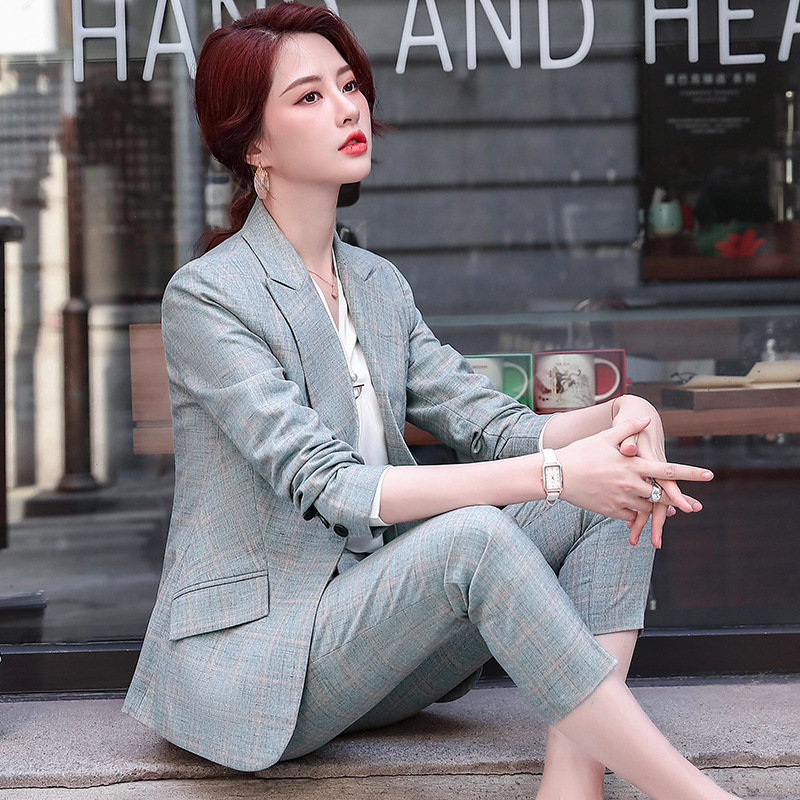 2020 autumn and winter women's professional wear High quality two-piece suit pants Casual plaid ladies jacket Slim trousers
