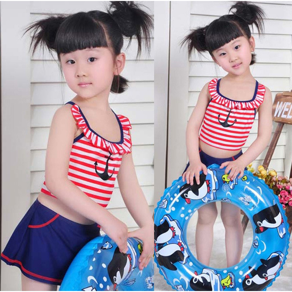 Children Summer Bathing Suit BOY'S Stripes Boat Anchor One-piece Swimming Suit + Swim Cap Girls Navy Style Bathing Suit Four-pie