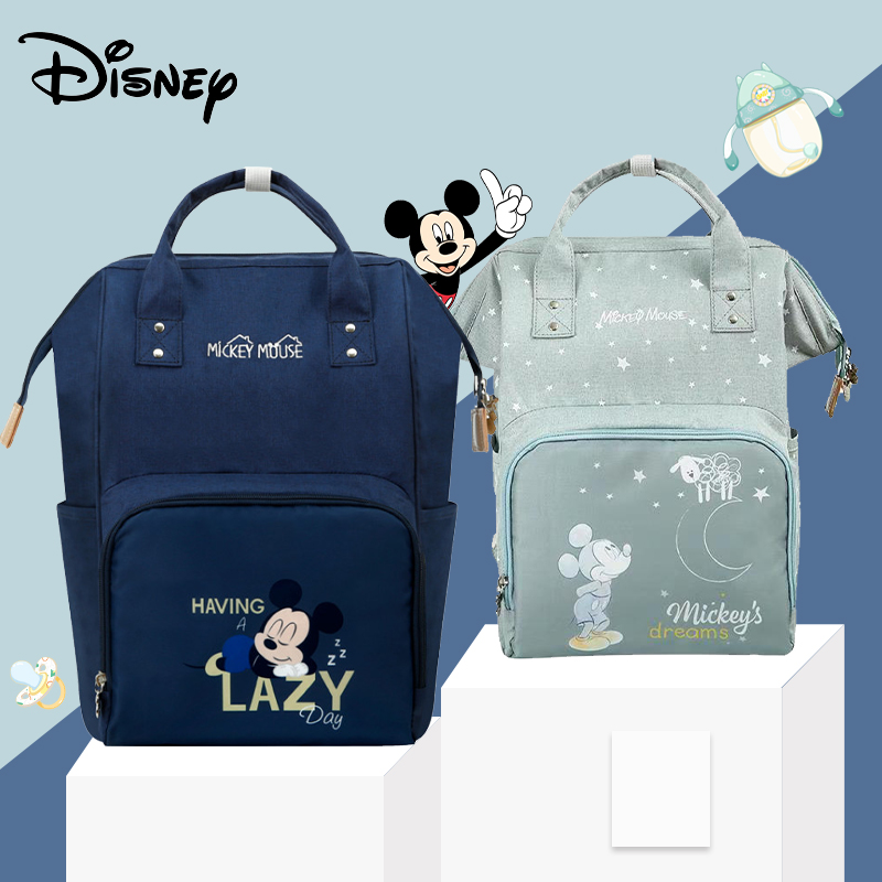 Disney Mickey Minnie Diaper Bags Waterproof/Baby Care/Mummy Bags Maternity Backpack Nappy Bags Large Capacity Star Moon Pink New