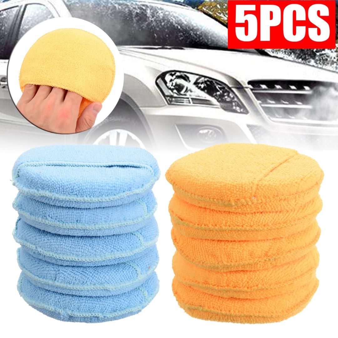 5pcs/set Car Waxing Polish Microfiber Foam Sponge Cleaning Detailing Pads  Car Cleaning Sponge Waxing Polish Wax Orange Sky Blue