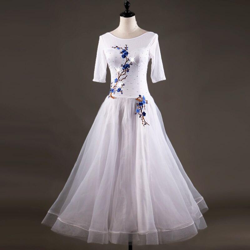 Ballroom Dance Dresses Long Sleeve foxtrot embroidery white  Women Stage Waltz Ballroom Dress rose red  MQ042