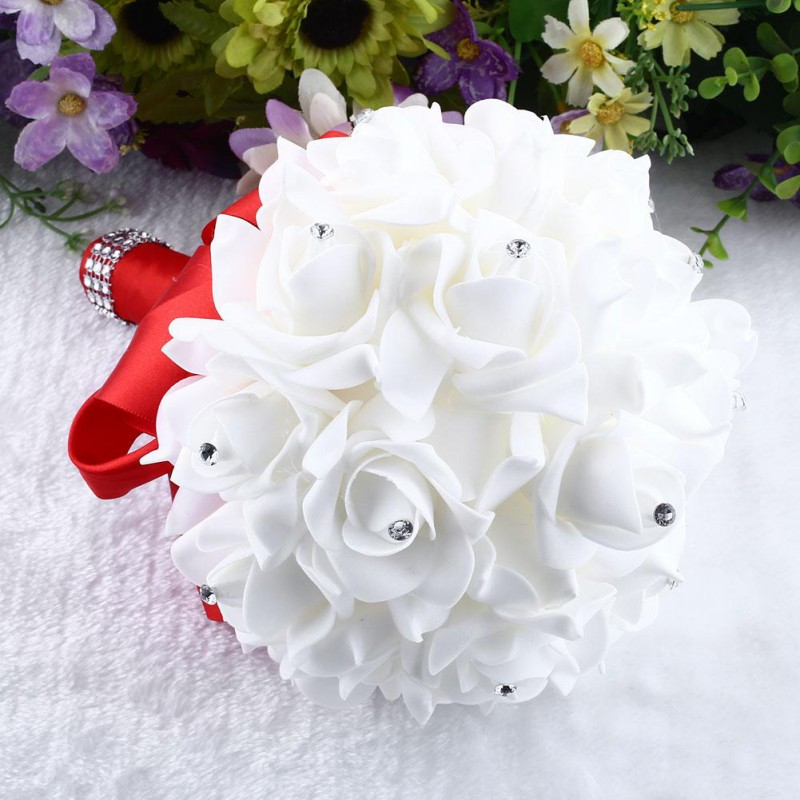 16 Pcs Beauty Weeding <font><b>Fllower</b></font> Bouquet Package For Bride Flowergirls Bridal Decoration Party Home DecorationNew Qgnv image
