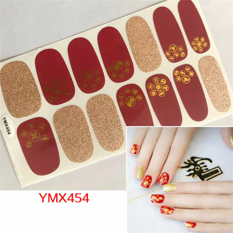 1Pc Herfst Stijl Nail Wrap Strepen Glitter Vinger Stickers Volledige Cover Decals Nail Art Sliders Voor Manicure Lijm Tattoos tips