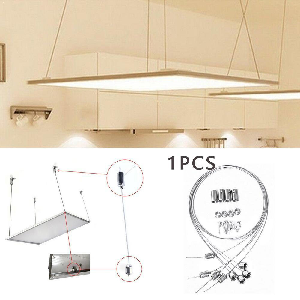 1m Steel Wires & Screws Suspension Mounting Wire Kit Lights Panel Hanging Wire Adjustable Rope Lamp