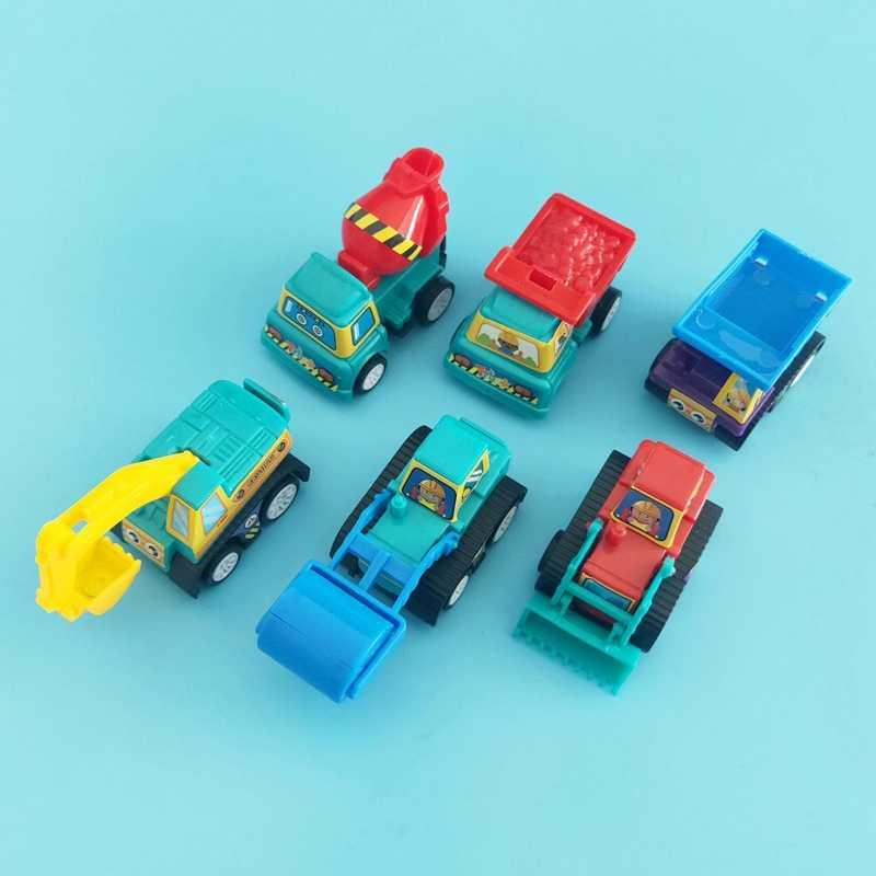 6 Buah Set Menarik Kembali Mobil Teknik Mobil Truk Pemadam Kebakaran Model Anak Mobil Mainan Bayi Mobil Die Casting Mainan anak-anak Mini Mainan Mobil