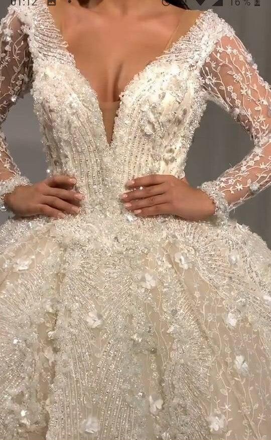 New Custom Size 2020 Luxury Beaded Crystal Long Wedding Dresses Long Sleeves Wedding Bridal Gowns Vestido De Novia
