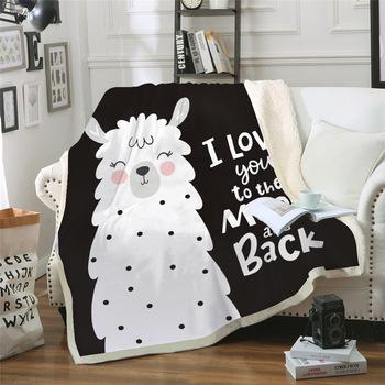 Druk cyfrowy 3D pluszowy koc śliczny mała owieczka koce czarny biały koc domowy piękne zwierzęta łóżko rzut koc Sherpa tanie i dobre opinie BEST WENSD 100 bawełna organiczna Przenośne cartoon Winter Koral polar tkanina Jakość Little Sheep Blankets Gładkie barwione