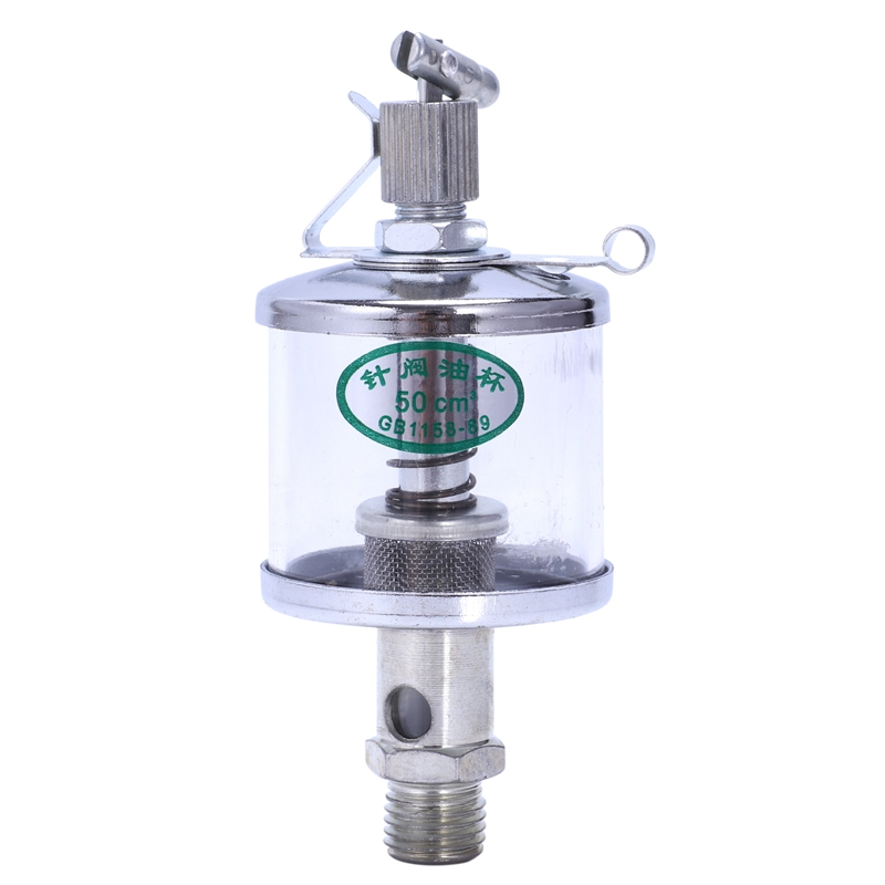 50mL Engine Machine Lubricator Oil Gravity Drip Feed Oiler Clear+Silver|  - title=