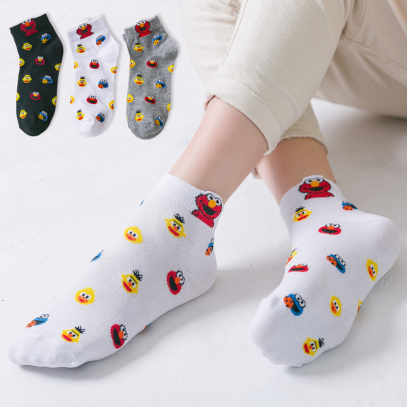 Socks Women Ladies Girls Sesame Street Cartoon Funny Socks Women'S Cute Kawaii Cotton Sock Women'S Spring Autumn Summer