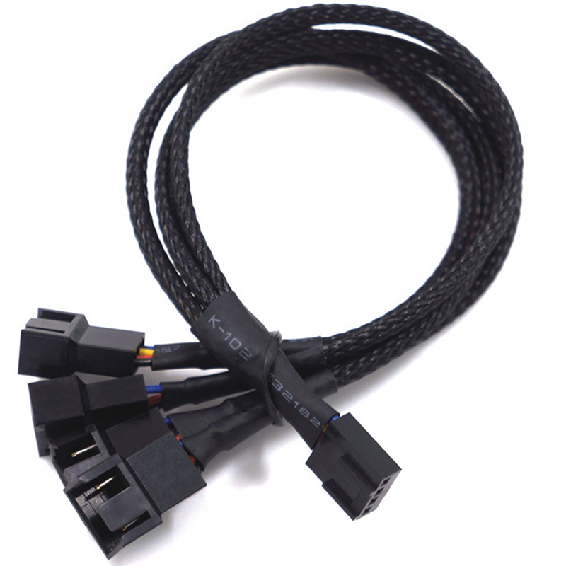 Copper PWM 4 Way 4Pin/3Pin Computer Fan Power Sleeved Splitter Extension Cable