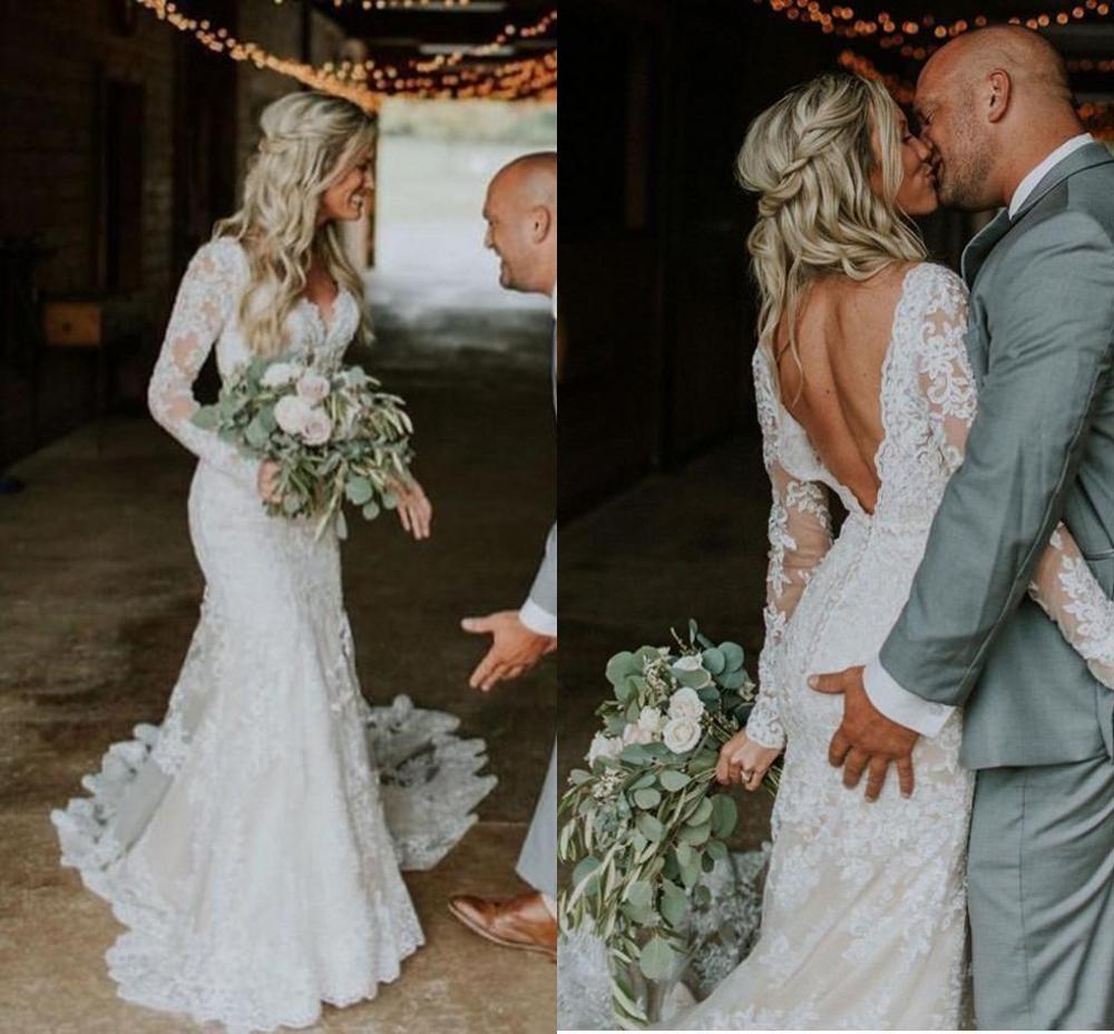 Vintage Bohemian Mermaid Wedding Dresses 2020 Modern Long Sleeve V-neck Backless Countryside Bride Wedding Dress Vestido Novia