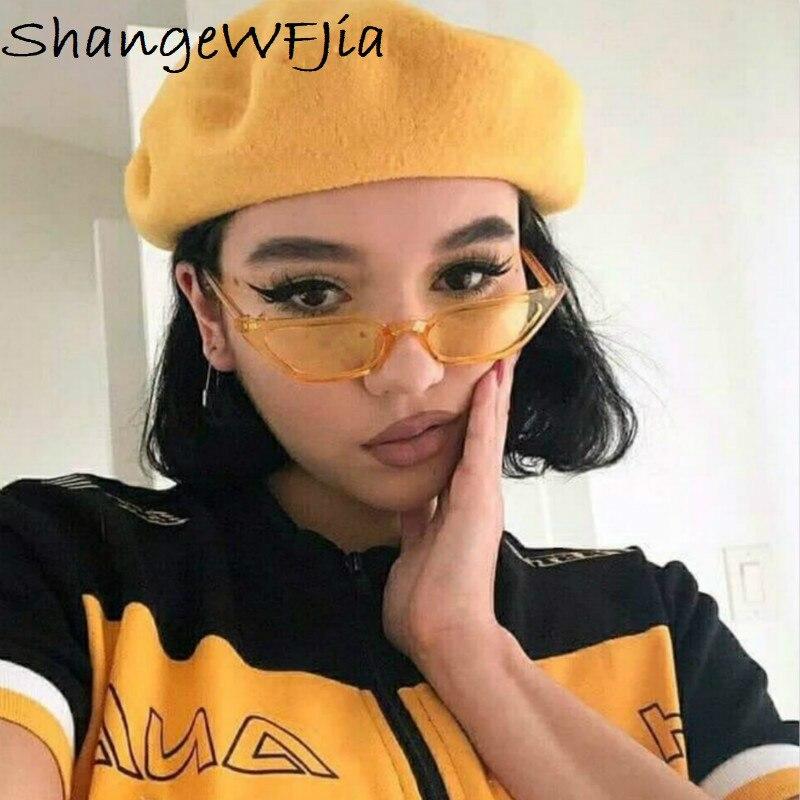 New  Cat Eye Sunglasses Women Small Vintage Brand Designer Sun Glasses Retro Yellow Ladies Sunglass  Eyewear Female Shades