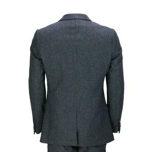 Image 3 - 2020 ternos dos homens lã 3 peças dois botão tweed terno espinha de peixe verificar retro peaky blinders costurado ajuste novo