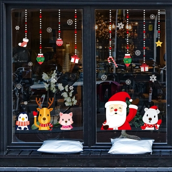 2020 Merry Christmas Wall Stickers Window Glass Festival Decals Santa Murals New Year Decorations for Home Decor - discount item  11% OFF Home Decor