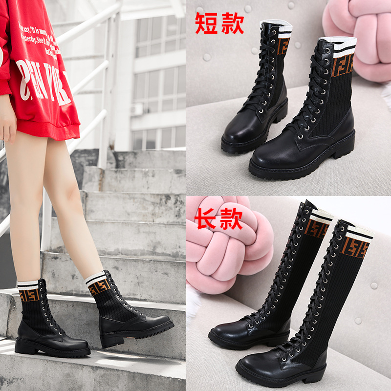 New Style Martin Boots Women's 2019 Autumn & Winter British Style Thick Bottomed Versatile Elasticity Boots Boots Women's