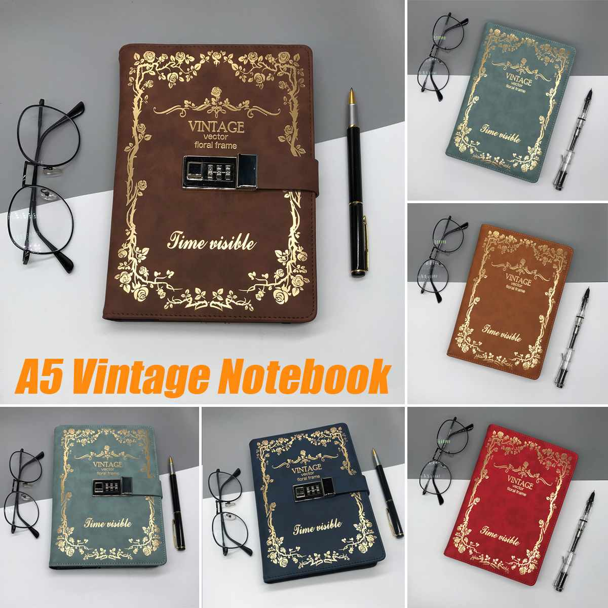 A5 Vintage Notebook Diary Notepad PU Leather Password With/without Lock Code Note Book Stationery School Office Gift