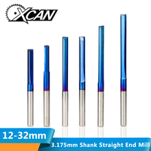 XCAN 10pcs 3.175 Shank Nano Blue Coated Straight End Mill 2 Flute Carbide Milling Cutter for Wood MDF Plastic CNC Engraving Bit