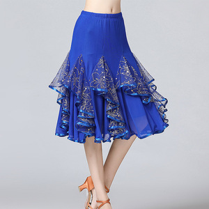 Image 5 - Sale New Ballroom Dance Skirts Women Latin Tango Modern Dancing Skirts National Standard Waltz Flamenco Competition Dance Dress