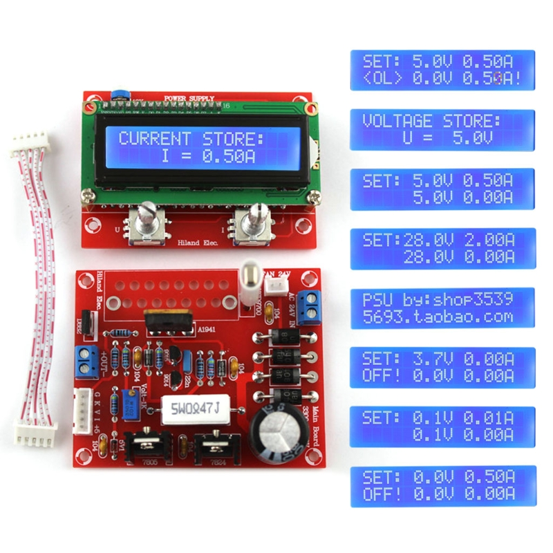 0-28V 0.01-2A Adjustable DC Regulated Power Supply DIY Kit LCD Display Regulated Power KitShort-circuit/Current-limit Protection