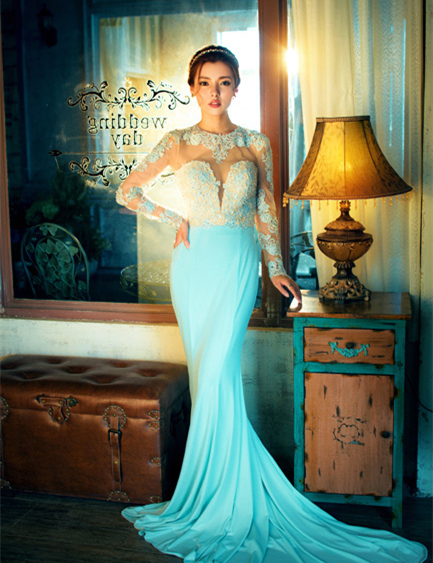 Sexy Backless 2018 New Fashion Vestido De Festa Women Long Sleeve Mermaid Evening Bridal Gown Mother Of The Bride Dresses
