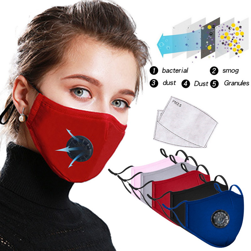 PM2.5 Anti-Dust Mouth Mask Virus Washable Reusable Cotton Anti Pollution Valve Masks Unisex Face Muffle For Allergy/Asthma