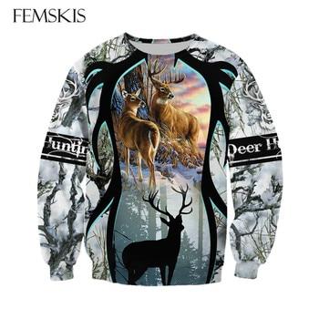 FEMSKIS 2020 The New 3D Print Forest Deer Hunter Sweatshirt Men Women Pullover Sweatshirts Animal Hunting Casual Long Sleeves animal print off the shoulder sweatshirt