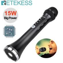 Retekess tr617 15w sem fio microfone alto-falante de áudio microfone integrado bluetooth fm saída conexão freqüência karaoke