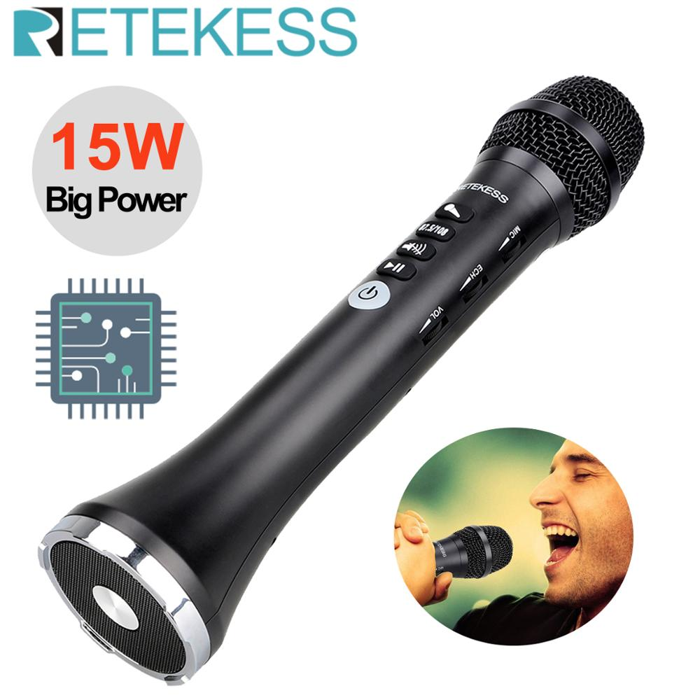 RETEKESS TR617 15W Wireless Microphone Speaker Audio Microphone Integrated Bluetooth FM output frequency Connection karaoke
