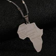 Stainless Steel Africa Map Pendant Necklaces Trendy African Maps Chain Jewelry(China)