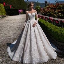 Vestido デ Noiva プリンセサ 2020 ブライダルドレスオールオーバーレース長袖ゴージャスな A ラインのウェディングドレスとペチコート
