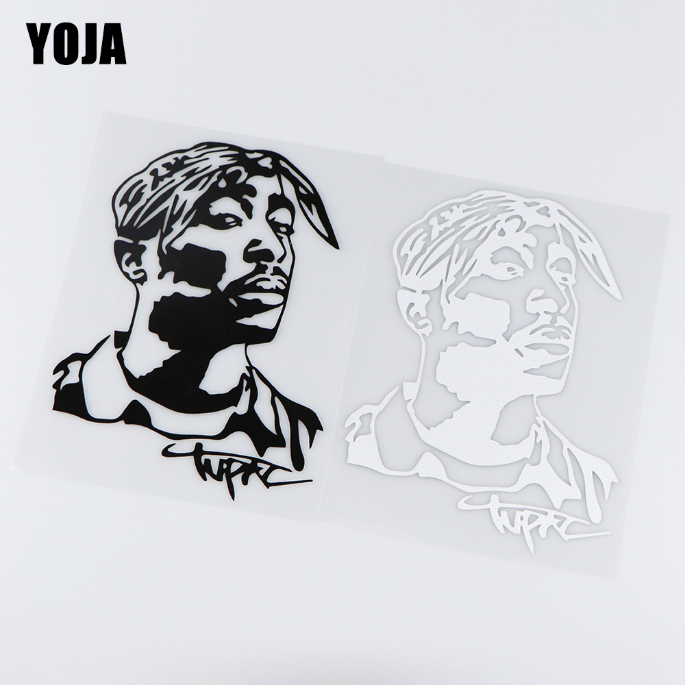YOJA 13X17.8CM Tupac Hip Hop Musician Vinyl Decal Creative Art Car Sticker ZT4-0083