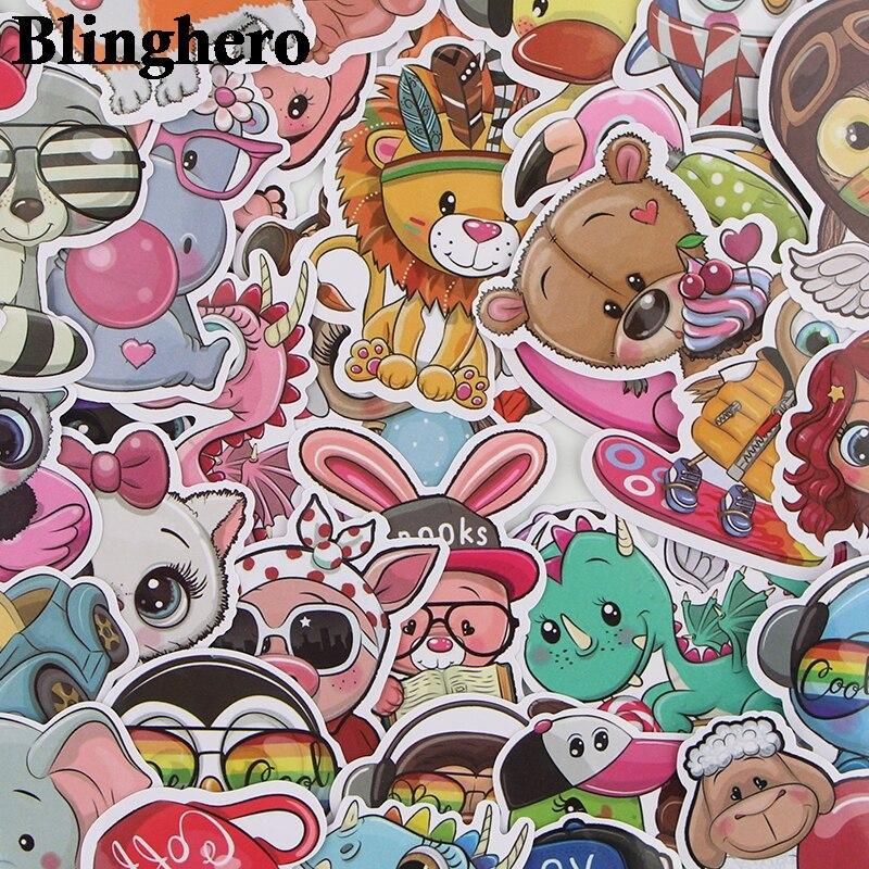 CA689 41 Pcs/set Animal Zoo World Cute Waterproof Stickers Kids Toys Stickers For DIY Luggage Laptop Skateboard Car Decor