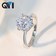 QYI Ladies Classic 6 Prong SONA Diamond 2 ct/3 ct/4 ct Solitaire Engagement Ring 925 Sterling Silver Wedding Ring