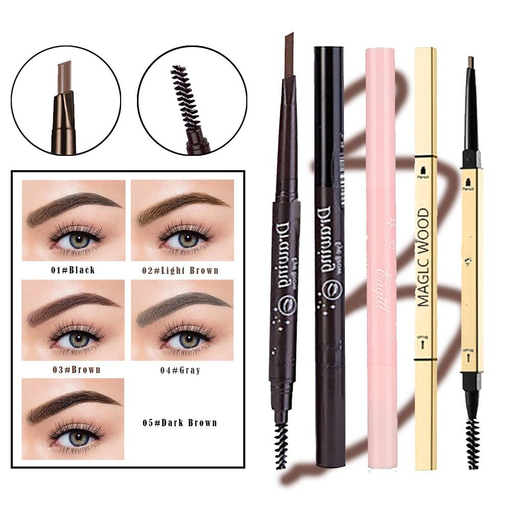 2022 Eyebrow Pen Eyebrow Pencil Eyeliner Small Gold Bar 2in1 Brush Eyelash Mascara Makeup Tools Enhance Cosmetics Eyebrow Stamp